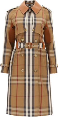 Burberry RAINHAM TRENCH COAT WITH LEATHER DETAILS 6 Brown Cotton