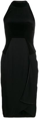 Tom Ford cady and velvet halterneck dress