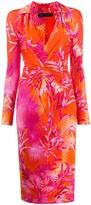 Versace jungle print fitted shirt dress