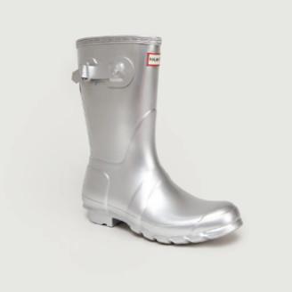 Hunter Short Silver Rubber Rain Boots - 4 | rubber | silver - Silver/Silver