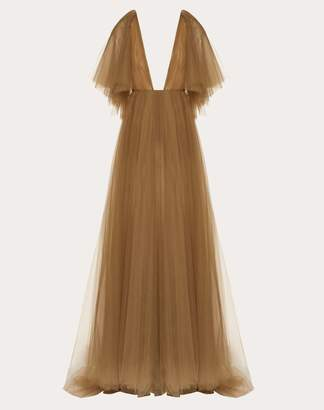 Valentino Tulle Evening Dress With Poetry Detailing Women Grey 100% Poliammide 40