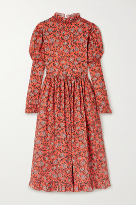 Horror Vacui August Ruffled Floral-print Cotton Midi Dress - Red