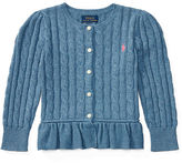 Ralph Lauren Cable Cotton Peplum Cardigan