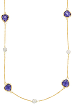 Rivka Friedman Faceted Iolite Crystal & CZ Bead Station Necklace