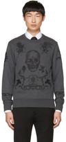 Alexander McQueen Grey Embroidered Skull Sweatshirt
