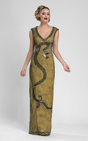 Sue Wong Embroidered V Neck Long Gown N3437