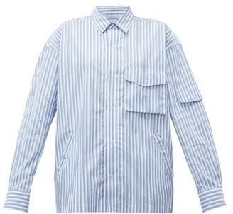 Martine Rose Shock Cord Striped Cotton Shirt - Blue
