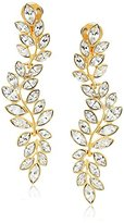 Kenneth Jay Lane Gold and Crystal Leaf Clip Drop Earring