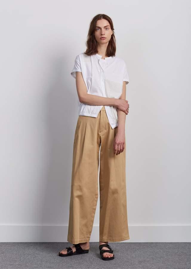 Y's Cotton Satin Side Slit Pants Beige