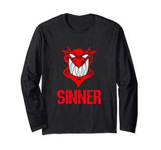 Sinner Smiling Devil Demon Face Sexy Dark Naughty Humor Long Sleeve T-Shirt