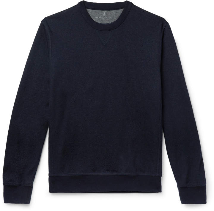 Brunello Cucinelli Cashmere-Blend Sweatshirt - Men - Blue