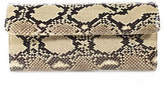 LAI Brown Tan Black Leather Animal Print Clutch Handbag