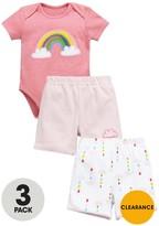 Ladybird Baby Girls 3PC Bodysuit & Shorts Set