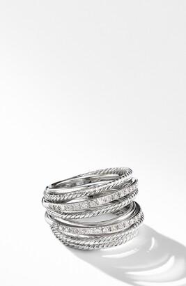 David Yurman Wide Crossover Pave Diamond Ring