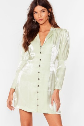 Nasty Gal Womens Let Love Shine Metallic Blazer Dress - Sage
