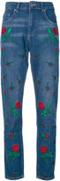 Zoe Karssen embroidered rose jeans