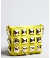 Betsey Johnson yellow extra large studded leather 'Stud Muffin' small crossbody bag
