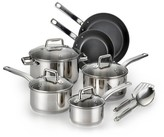 T-Fal Precision Ceramic Stainless Steel C718SC PTFE-free PFOA-free Dishwasher Safe Cookware 12 Pc Set Silver