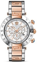 Versace Reve Chronograph Stainless Steel and Rose Gold Watch with White Mother-of-Pearl Dial, 46mm