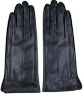 Chickle Women's Warmer Touchscreen Stretch Lambskin Leather Gloves L Black