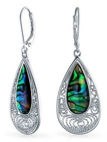 Bling Jewelry Filigree Teardrop Leverback Abalone Shell Earrings Sterling Silver