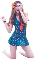 Panda Superstore One Pieces Bathing Suit for Women Orange Dots