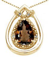 Tommaso design Studio Tommaso Design Pear Shape 8x6mm Genuine Smoky Quartz and Diamond Pendant 14k