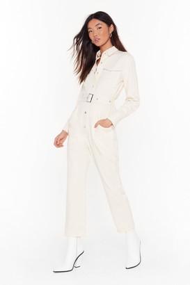 Nasty Gal Womens Bring Stitch On Denim Belted Boilersuit - White - XL, White