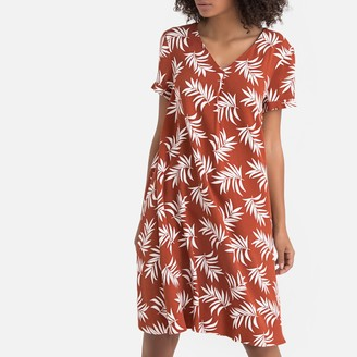La Redoute Collections Leaf Print V-Neck Swing Dress