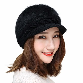 Jiegorge Women Winter Warm Solid Knitted Hat Beret Baggy Beanie Hat Slouch Ski Cap Hat