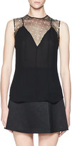 Olivier Theyskens Sleeveless Bead-Embroidered Silk Top, Black