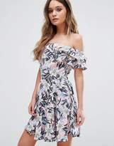 Boohoo Floral Bardot Ruffle Dress