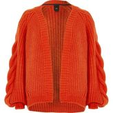 River Island Womens Red chunky cable knit cardigan