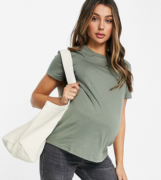ASOS DESIGN Maternity ultimate organic cotton t-shirt with crew neck in khaki