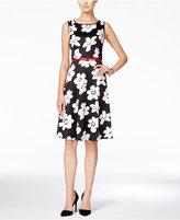 Nine West Sleeveless Belted Floral-Print Fit & Flare Dress