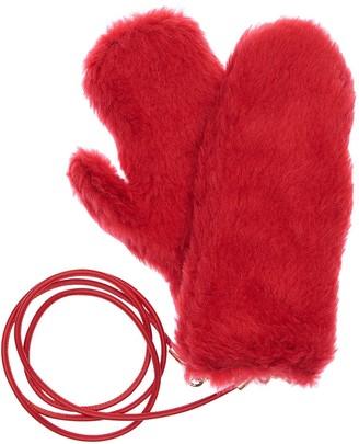 Max Mara Ombrat2 Fur Effect Mittens W/ Strap