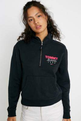 Tommy Jeans Logo Quarter-Zip Sweatshirt - black XS at Urban Outfitters