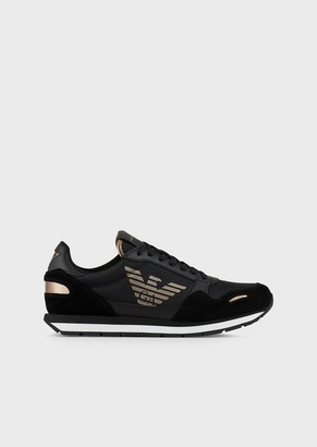Emporio Armani Suede Sneakers With Cordura Inserts And Side Logo