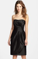 Alfred Sung Women's Wrapped Strapless Satin Dress