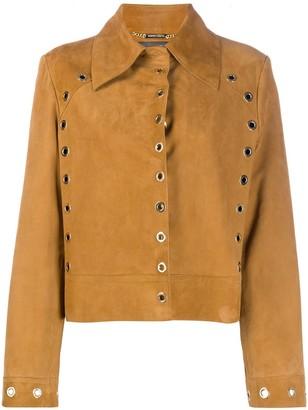 Alberta Ferretti Suede Eyelet Embellished Jacket