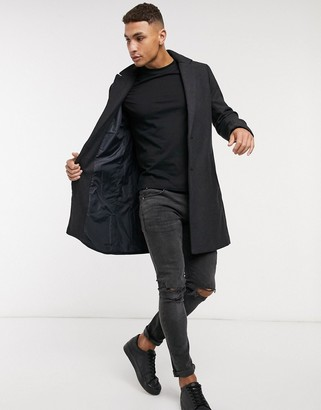Hollister wool overcoat in charcoal