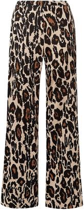 Diane von Furstenberg Caspian Leopard-print Silk-jersey Flared Pants