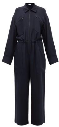 Raey Oversized Silk-morocain Jumpsuit - Womens - Navy