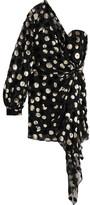 Saint Laurent One-shoulder Metallic Devoré Chiffon Mini Dress - FR34