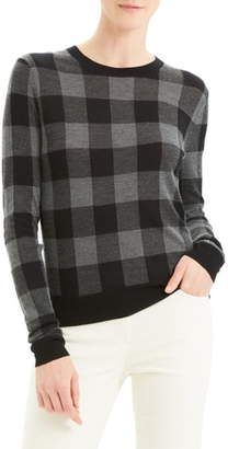 Theory Plaid Silk & Cashmere Sweater