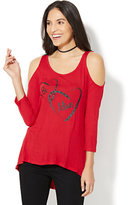 New York & Co. Be Mine Cold-Shoulder Graphic Logo T-Shirt - Red