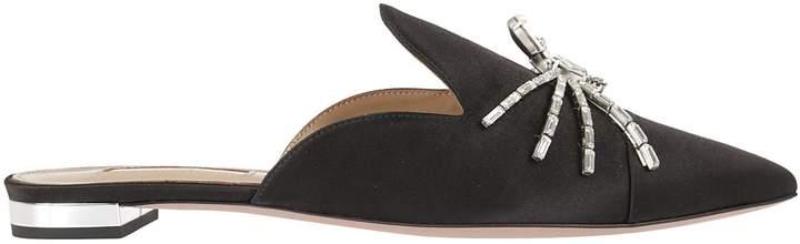 Aquazzura Crystal Spider Flat Sandals