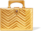 Gucci Broadway Box Quilted Metallic Leather Clutch - Gold
