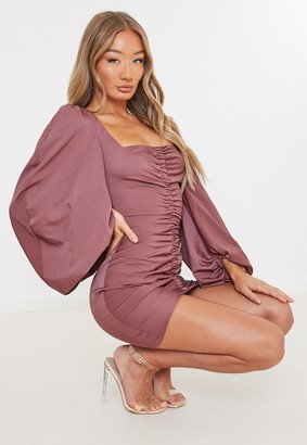 Missguided Burgundy Satin Scoop Ruched Front Mini Dress