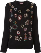 Lanvin embellished detail jersey - women - Cotton/Resin/Brass/glass - S